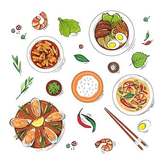 Набор традиционных корейских блюд handdrawn в стиле эскиза