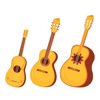 전통적인 멕시코와 스페인 악기 기타와 기타론 세트.
