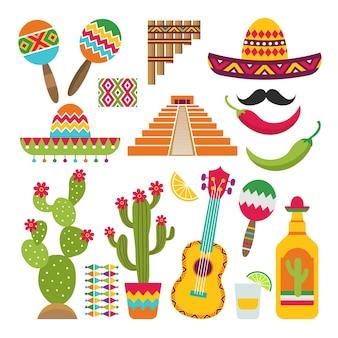 전통적인 멕시코 상징의 세트