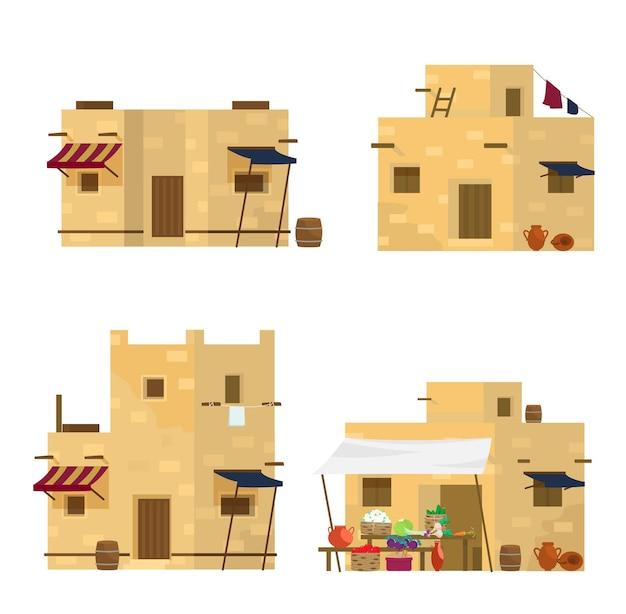 Набор традиционных ближневосточных домов и рынка. арабская архитектура.