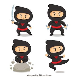 フラットデザインの伝統的な忍者キャラクターのセット