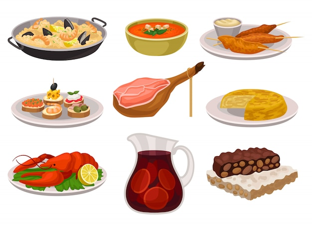 Набор традиционной испанской кухни и напитков. паэлья, освежающий суп гаспачо, курица-гриль с соусом, сангрия в стеклянной банке. аппетитная еда.