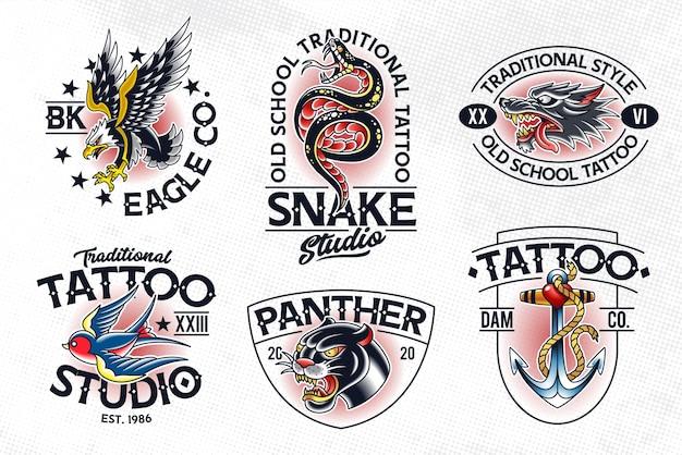 伝統的なタトゥースタイルのエンブレムのセット。オールドスクールのタトゥーのロゴのテンプレート。