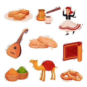 전통적인 터키 문자 집합입니다. 흰색 배경에 그림입니다.