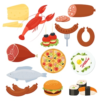ロブスターサラミピザチーズバーガーローストミート目玉焼きソーセージ魚寿司シーフードチーズとカナッペ前菜のメニューの伝統的なベクターフードアイコンのセット