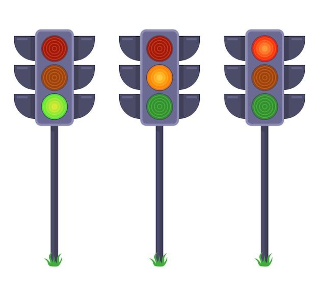 다른 색상 신호를 보여주는 신호등의 집합입니다. 평면 그림 흰색 배경에 고립입니다.
