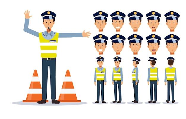 교통 경찰 캐릭터 일러스트 만화 스타일의 집합입니다.
