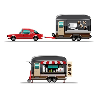 トレーラーのセット大きなコーヒーショップと側面に旗、白い背景の上のスタイルのフラットなイラストを描くフードトラック