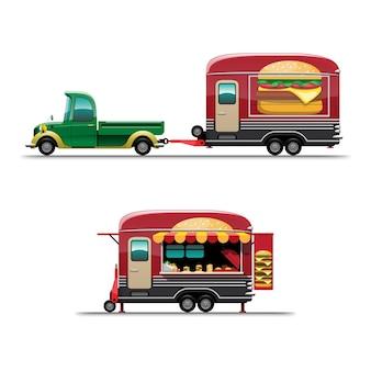 メニューボード、白い背景の上のスタイルのフラットなイラストを描くハンバーガーとトレーラーフードトラックのセット