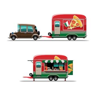 メニューボードと椅子、白い背景の上のスタイルのフラットなイラストを描くピザスナックとトレーラーフードトラックのセット