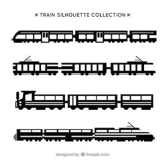 列車のシルエットのセット