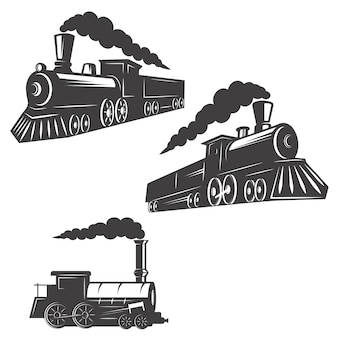 흰색 바탕에 열차 아이콘의 집합입니다. 로고, 라벨, 엠 블 럼, 사인, 브랜드 마크 요소.