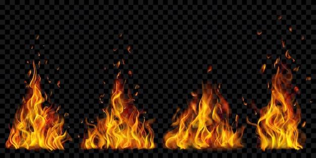 투명한 배경에 불꽃과 불꽃의 반투명 타는 모닥불 세트. 어두운 삽화에 사용합니다. 벡터 형식의 투명도