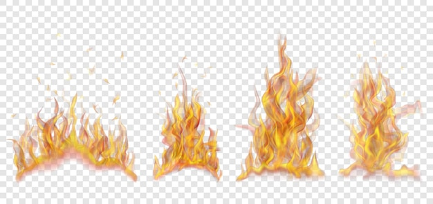투명한 배경에 불꽃과 불꽃의 반투명 타는 모닥불 세트. 밝은 배경에 사용합니다. 벡터 형식의 투명도