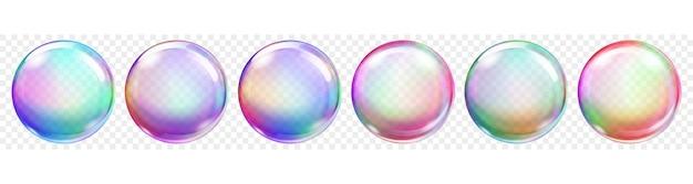 透明な背景に半透明の色のシャボン玉のセットです。ベクトル形式のみの透明度