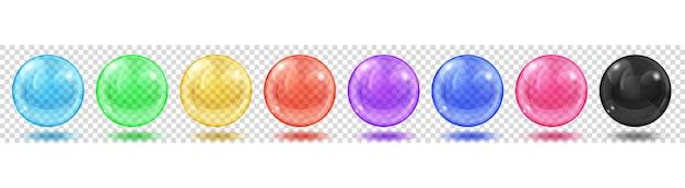 透明な背景にまぶしさと影のある半透明の色の球のセット。ベクトル形式のみの透明度
