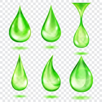 透明な背景に分離された、緑色の半透明のドロップのセット。ベクトル形式のみの透明度