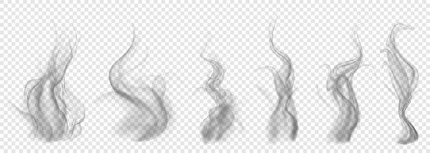 투명 배경에 반투명 회색 연기 세트