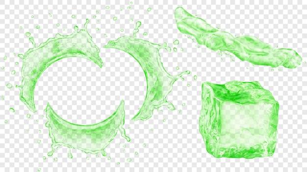 透明な背景に分離された、緑色の半透明の半円形の水のしぶき、液体の噴流、アイスキューブのセット。ベクトル形式のみの透明度