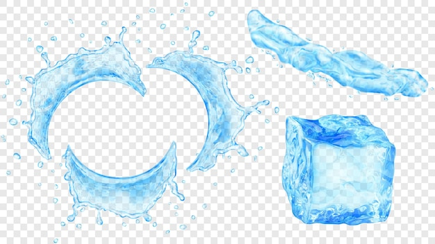 透明な背景に分離された、水滴、液体のジェット、水色のアイスキューブが飛び散る半透明の半円形の水のセット。ベクトル形式のみの透明度