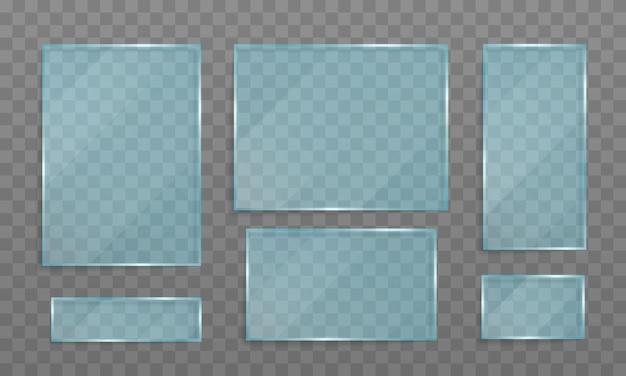 유리 투명 유리 배너로 만든 투명 배너 세트