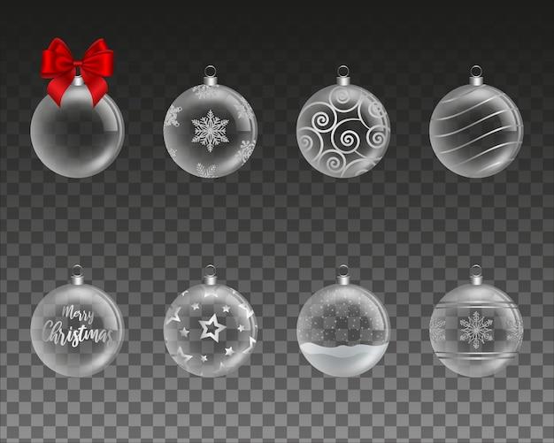 透明なクリスマスボールのセット