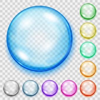 影付きの透明な色の球のセット。
