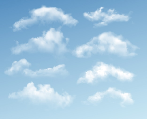 Набор прозрачных разных облаков на синем фоне. реальный эффект прозрачности.