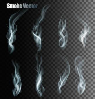 透明な異なる煙のセット。