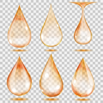 Набор прозрачных капель оранжевого цвета. прозрачность только в векторном формате. может использоваться с любым фоном
