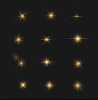 Набор прозрачной вспышки светового эффекта, специальные линзы солнечного света. яркие золотые вспышки