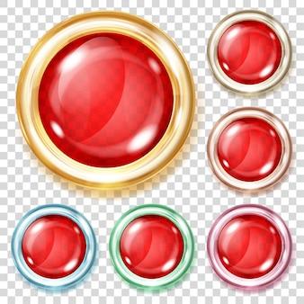 さまざまな金属の境界線を持つ赤い色の透明なガラス ボタンのセット