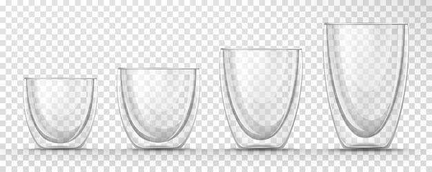 Набор прозрачных стеклянных пустых чашек разных размеров с двойными стенками