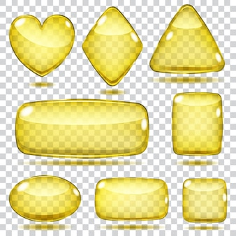 노란색 색상의 투명 유리 모양 세트