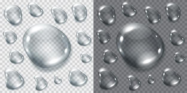 Набор прозрачных серых капель для светлого или темного фона