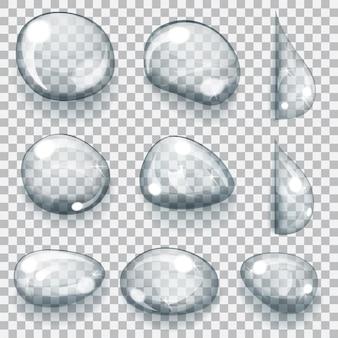 さまざまな形の透明な灰色の滴のセット