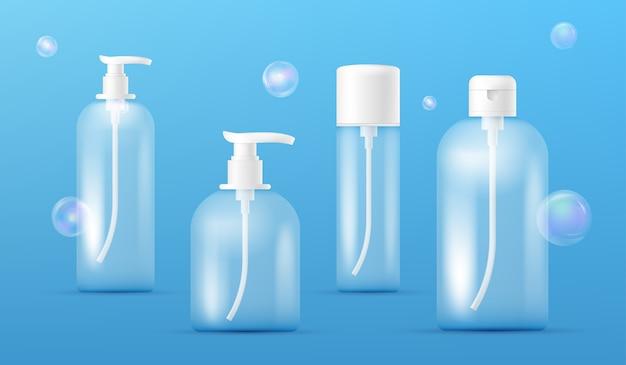 투명 향수 병의 집합입니다. 액체 비누, 샴푸, 샤워 젤, 로션, 투명 다채로운 비누 거품이있는 바디 우유 용 디스펜서가있는 깨끗한 플라스틱 병 템플릿. 포장 수집.