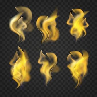 透明な現実的な火炎のセット