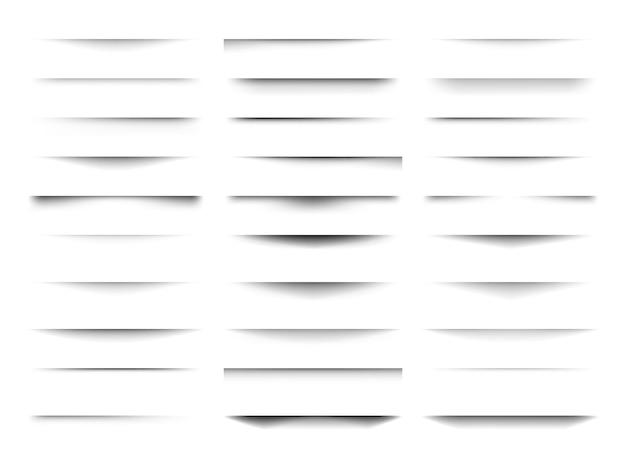 ソフトエッジの透明な影のセット。透明な背景のさまざまな形状に分離されたリアルな影の効果。ベクトルイラスト。
