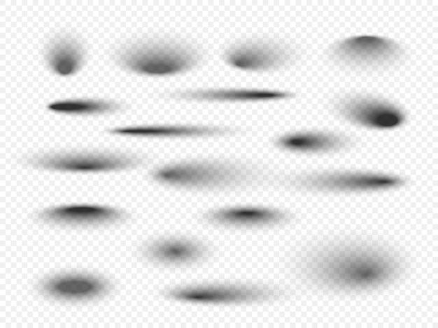 ソフトエッジの透明な影のセット
