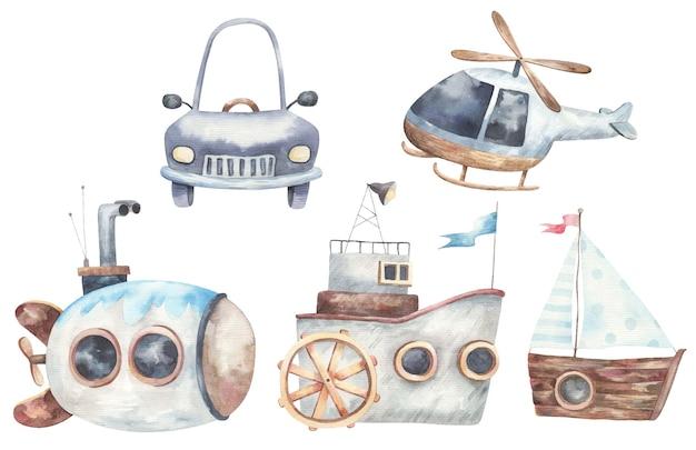 輸送、船、船、機械、潜水艦、ヘリコプターのセット