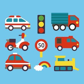 Набор транспорта для детей на синем фоне векторные иллюстрации