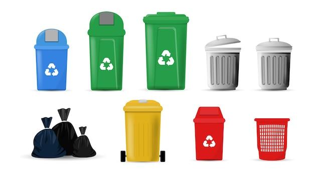 쓰레기통과 쓰레기통 세트