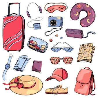 旅行属性、観光アクセサリーのセット。旅行の荷物。スケッチスタイルの休暇、旅行のテーマコレクション。手描きのベクトル図です。デザインのために分離された色付きの漫画の要素。