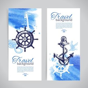 여행 배너 세트입니다. 바다 항해 디자인입니다. 손으로 그린 스케치와 수채화 삽화