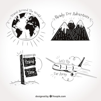Set of travel drawings with phrases