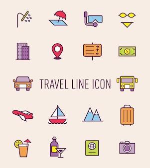 旅行アイコンのセット