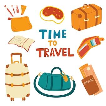 Набор предметов для путешествий. все необходимое для путешествия на самолете: чемодан, дорожная сумка, маска для сна, паспорт, книга, кошелек, косметичка. подготовка к путешествию. летний отпуск. векторные иллюстрации шаржа