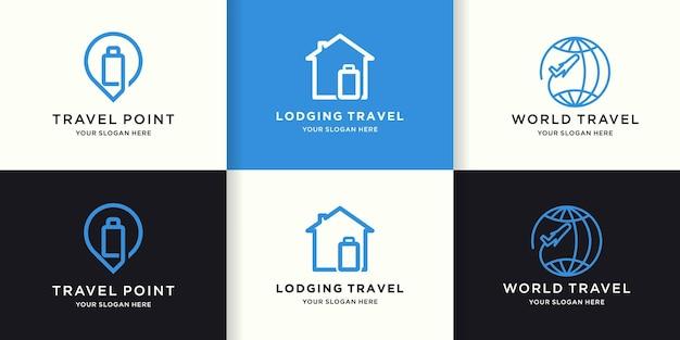 Набор дизайнов логотипа путешествия с простыми линиями
