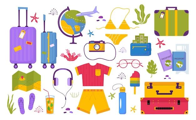Набор туристических вещей для приключенческого отдыха, путешествий. путешествие декоративное оформление с тропическими листьями, ракушками, одеждой, аксессуарами, обувью, чемоданом, багажом для туризма. плоский мультфильм модный вектор